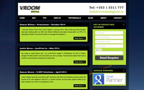 Screenshot of Testimonials Page vroomseo.ie - Testimonials - Vroom Digital Archive - Vroom Digital - captured Oct. 26, 2014
