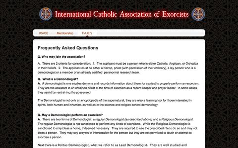 Screenshot of FAQ Page weebly.com - F.A.Q.'s - International Catholic Association Of Exorcists - captured Sept. 17, 2014