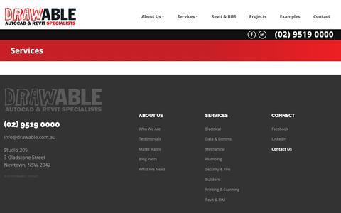 Screenshot of Services Page drawable.com.au - Services - captured Oct. 9, 2018