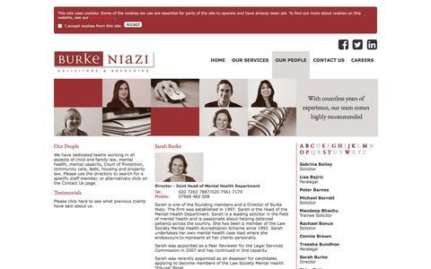 Screenshot of Team Page burkeniazi.com - Our people - Dedicated team of solicitors providing legal advice - captured Nov. 23, 2016