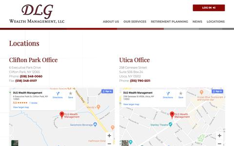 Screenshot of Locations Page dlgwealthmanagement.com - DLG Wealth Management | Locations - captured Oct. 7, 2018