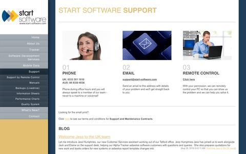 Screenshot of Support Page start-software.com - Start Software - Software Development Services - Support - captured Sept. 21, 2018
