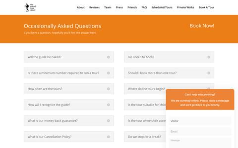 Screenshot of FAQ Page nakedtourguideprague.com - Occasionally Asked Questions   The Naked Tour Guide, Prague. - captured Oct. 20, 2018