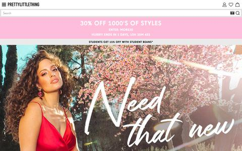 Screenshot of Home Page prettylittlething.com - Women's Fashion Clothing & Dresses | PrettyLittleThing - captured March 9, 2019