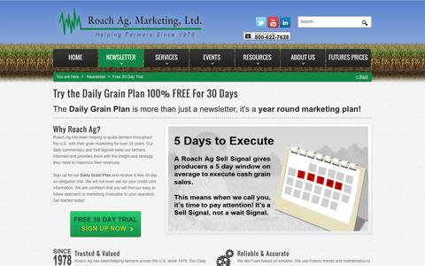 Screenshot of Trial Page roachag.com - Try the Daily Grain Plan 100% Risk Free for 30 Days! - captured Oct. 7, 2014