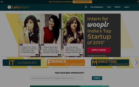 Screenshot of Home Page letsintern.com - Internships and Internship Jobs in India 2016 | Letsintern - captured Jan. 13, 2016