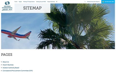 Screenshot of Site Map Page orlandoairports.net - Sitemap - Orlando International Aiport (MCO) - captured Nov. 13, 2016