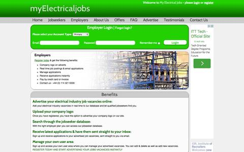 Screenshot of Login Page myelectricaljobs.co.uk - Electrical Jobs - captured Oct. 9, 2014