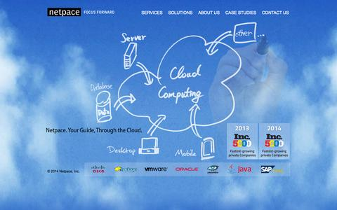 Screenshot of Home Page netpace.com - Cloud Computing, Consulting, Mobile Applications - Netpace Inc. - captured Oct. 12, 2014