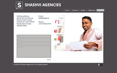 Screenshot of Contact Page shashvi.in - shashvi-agencies | Contact - captured Nov. 15, 2017