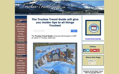 Screenshot of Home Page truckee-travel-guide.com - Truckee Travel Guide is an Insider's Guide to All Things Truckee, California! - captured Sept. 19, 2014