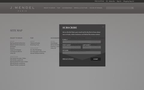 Screenshot of Site Map Page jmendel.com - Site Map - captured July 20, 2016