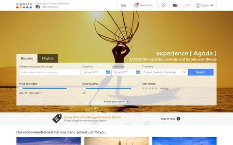 Screenshot of Home Page agoda.com - Agoda.com: Smarter Hotel Booking - captured Jan. 15, 2017