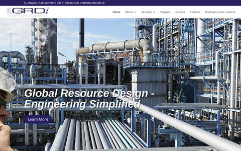 Screenshot of Home Page globalrd.ca - Home - GRDi | Global Resource Design | Engineering, Procurement, Construction Management, Commissioning - captured Sept. 28, 2018