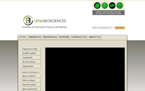 Screenshot of Home Page lenabio.com - Lena Biosciences | 3D cell culture products - captured Sept. 28, 2018