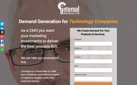 Screenshot of Landing Page internalresults.com - Demand Generation for CMOs - captured March 2, 2018