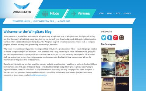 Screenshot of Blog wingstats.com - Welcome to the WingStats Blog | WingStats - captured Oct. 25, 2014