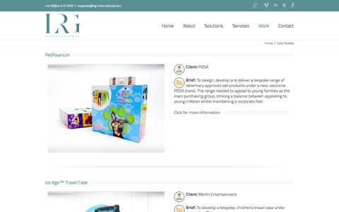 Screenshot of Case Studies Page lrg-international.com - Case Studies   LRG - captured Oct. 1, 2014