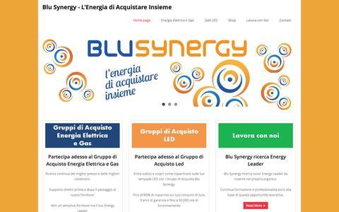Screenshot of Home Page blusynergy.it - Blu Synergy - L'Energia di Acquistare Insieme | Gruppi di Acquisto energia elettrica e gas - captured Sept. 30, 2014