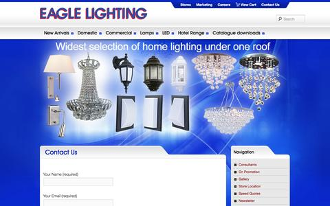 Screenshot of Contact Page eaglelighting.co.za - Contact Us - captured Oct. 1, 2014