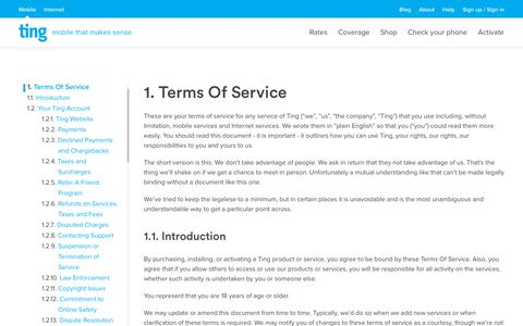 Screenshot of Terms Page ting.com - Ting is a smarter way to do mobile. Check Your Savings. - captured Oct. 16, 2018