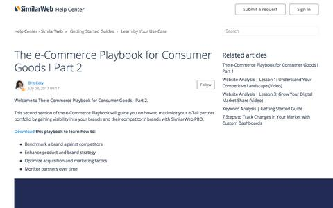 Screenshot of Support Page similarweb.com - The e-Commerce Playbook for Consumer Goods I Part 2 – Help Center - SimilarWeb - captured Aug. 1, 2017