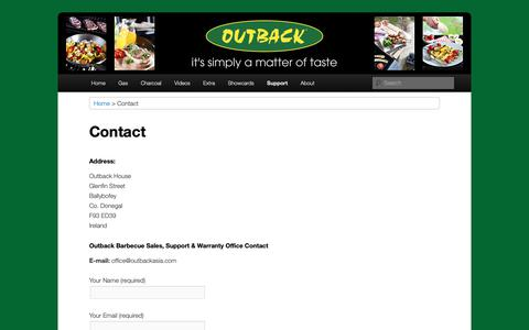 Screenshot of Contact Page Support Page outbackbarbecues.net - Contact :: Outback Barbecues - captured Oct. 23, 2018