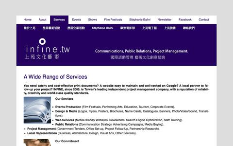 Screenshot of Services Page infine-art.com - A Wide Range of Services | INFINE International Projects & Creative Consulting - captured July 21, 2016