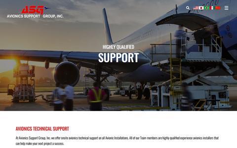 Screenshot of Support Page asginc.net - Support - Avionics Support Group, Inc. - captured Oct. 4, 2018