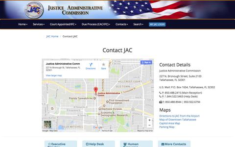 Screenshot of Services Page justiceadmin.org - Contact JAC - captured Oct. 16, 2017