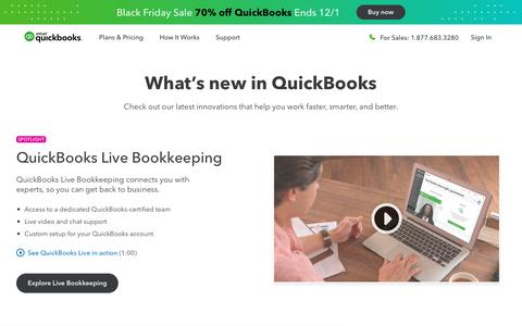 Screenshot of Press Page intuit.com - Whats new in QuickBooks Online - captured Nov. 21, 2019