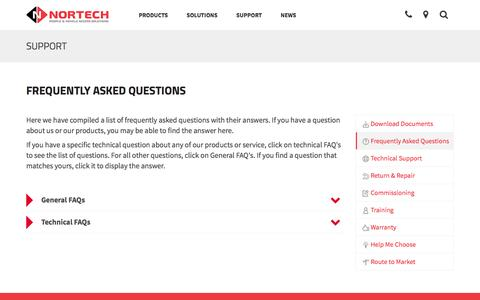 Screenshot of FAQ Page nortechcontrol.com - Frequently Asked Questions | Nortech Control Systems Ltd - captured Dec. 15, 2016