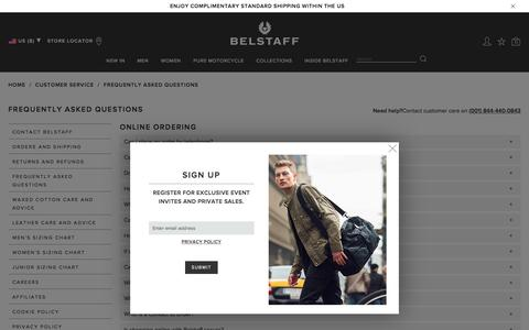 Screenshot of FAQ Page belstaff.com - Belstaff | Frequently Asked Questions | Customer Care - captured May 10, 2017