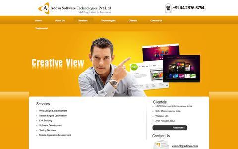Screenshot of Services Page addvu.com - ADDVU -Services - captured Oct. 8, 2014