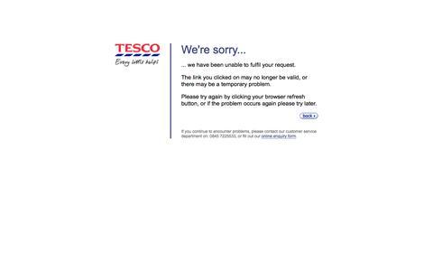 Tesco.com - A problem has occured