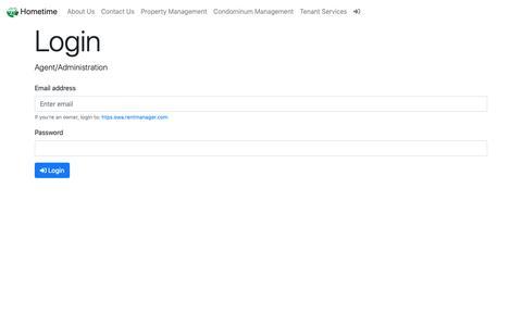 Screenshot of Login Page hometimecanada.com - Hometime Property Services Ltd. - Login Page - captured Sept. 29, 2018