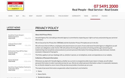 Screenshot of Privacy Page henzells.com.au - Privacy Policy - Henzells Agency - Caloundra - captured Nov. 7, 2016