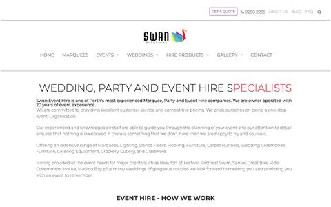 Screenshot of About Page swaneventhire.com.au - Perth Party Hire and Marquee Hire Specialist - captured Oct. 19, 2018