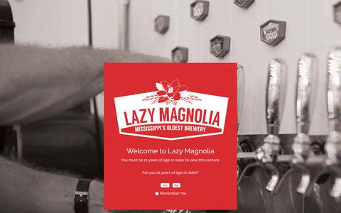 Screenshot of FAQ Page lazymagnolia.com - Age Verification - Lazy Magnolia Brewery - captured Sept. 27, 2018