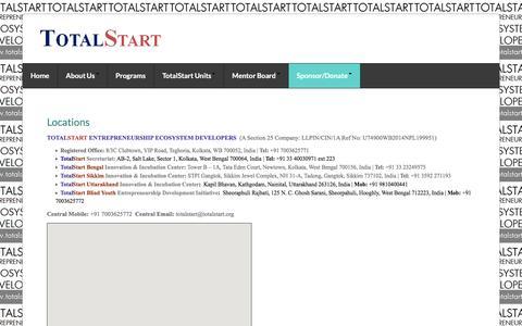 Screenshot of Locations Page totalstart.org - TOTALSTART ENTREPRENEURSHIP ECOSYSTEM DEVELOPERS - captured Dec. 14, 2016