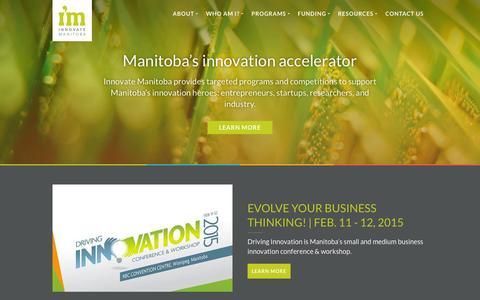 Screenshot of Home Page innovatemanitoba.com - Innovate Manitoba - Fostering Innovation Success in Manitoba - captured Jan. 21, 2015