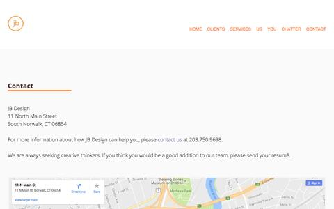 Screenshot of Contact Page jberrydesign.com - Contact Information - JB Design - captured Nov. 18, 2016