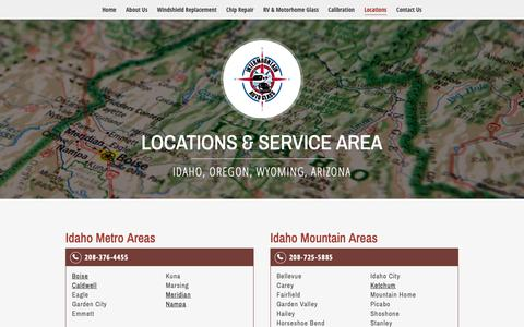 Screenshot of Locations Page intermountainautoglass.com - Locations | InterMountain Auto Glass | Idaho, Oregon, Wyoming, Arizona - captured Oct. 12, 2018
