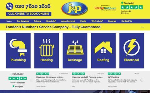 Screenshot of Home Page jandpplumbing.co.uk - Plumbers London | Boiler Repair London | J and P Plumbing and Heating - captured Sept. 30, 2018