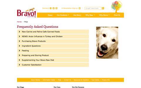 Screenshot of FAQ Page bravorawdiet.com - Bravo FAQs - Bravo Pet Food - captured Feb. 8, 2016
