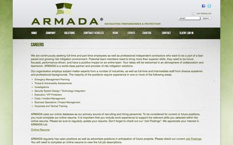 Screenshot of Jobs Page armadausa.com - Armada Ltd : About Us : Risk Threat Assessment Planning Security Tactics Emergency         Management Corporate Military Government Private University Schools Agency Protect         Training Consulting Consultants Investigate Central Columbus Ohio Ho - captured Oct. 4, 2014