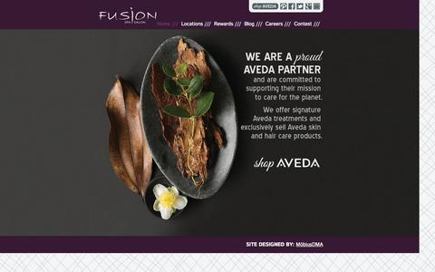 Screenshot of Home Page fusionspasalonaveda.com - Fusion Spa Salon - Aveda Hair Salons & Day Spas - captured Oct. 6, 2014