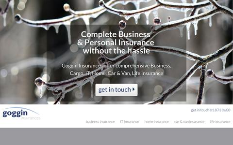 Screenshot of Home Page goggin.ie - Business Insurance Dublin - Van Insurance - House Insurance - Goggin - captured Sept. 19, 2015