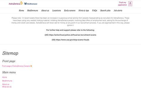 Screenshot of Site Map Page astrazeneca.com - Site map | AstraZeneca Careers - captured July 6, 2018