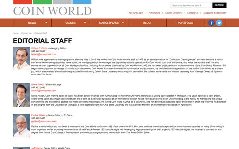 Screenshot of Contact Page coinworld.com - Editorial Staff - captured July 19, 2018